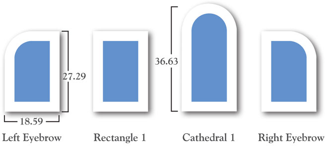 4 Standard window sizes from Geometric Windows